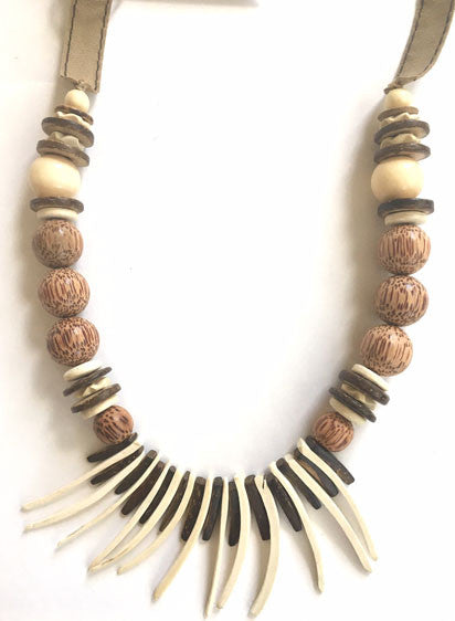 R & R Long White and Brown Fringe Necklace