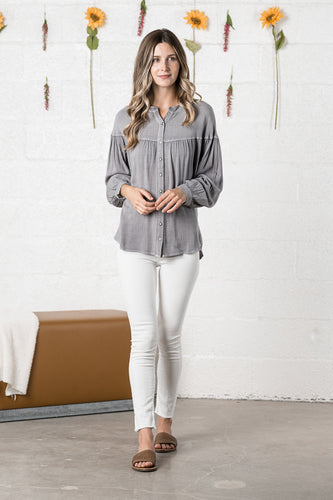 French Grey Yoke Blouse