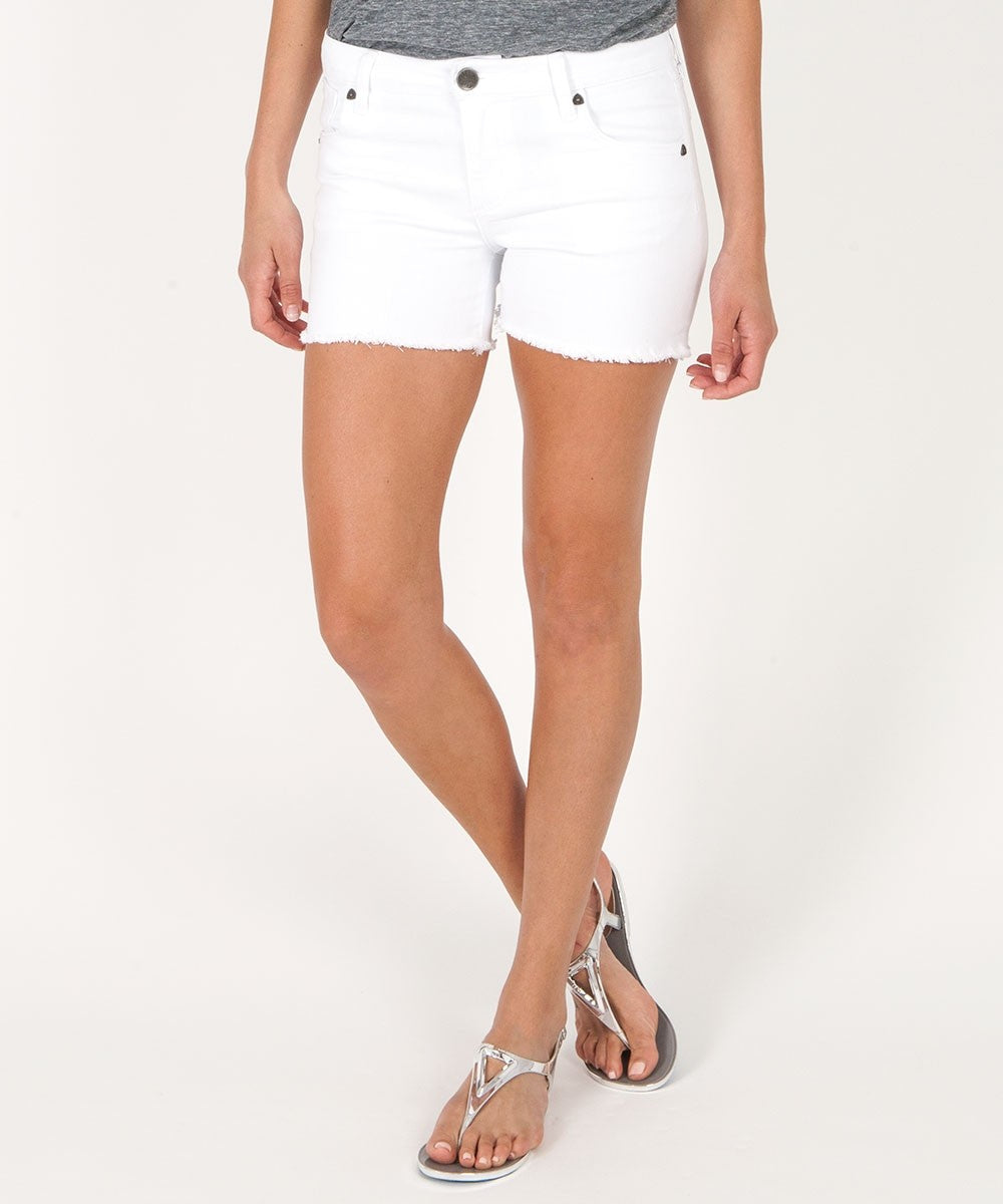 Gidget Fray Hem Short (White Wash)