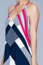Geometric Halter Dress