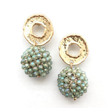 Crystal Ball Drop Earring (Mint and Multi)