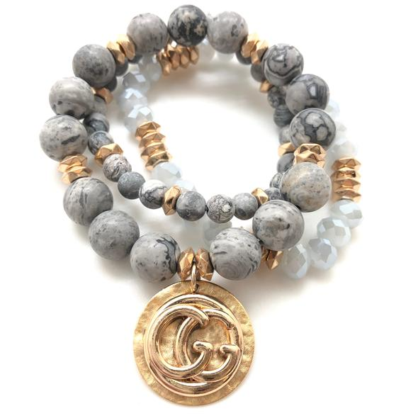 Designer Stackable Bracelet - Grey