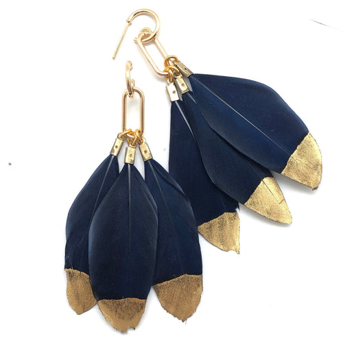 Gold Filled Navy Feather Earrings