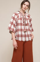 Plaid Stitch Woven Top