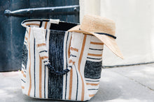 Large Striped Shopper Tote