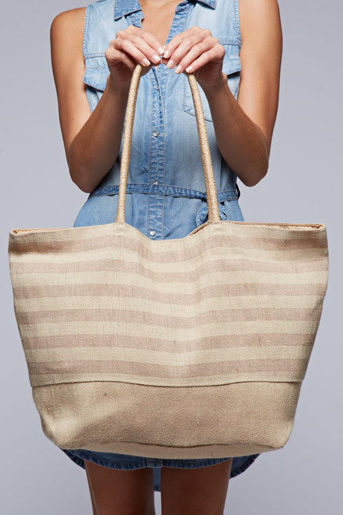 Striped Casual Shoulder Bag (Beige)