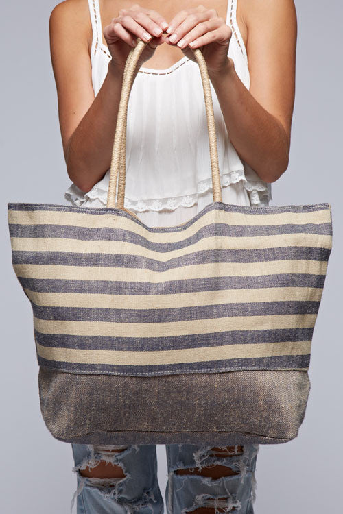 Striped Casual Shoulder Bag (Blue)