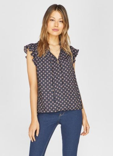 Penny Printed Ruffle Top