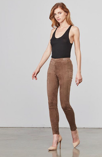 Violet Suede Leggings - Bark