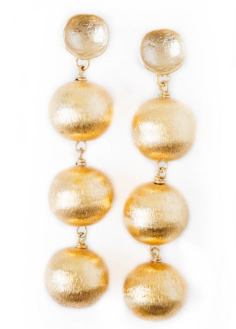Shiver + Duke Aphrodite Three Ball Earrings