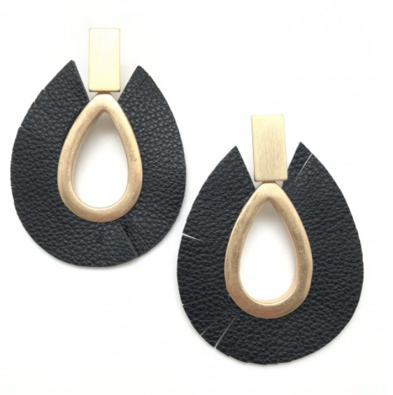 Leather Polly Hoops (Beige, Brown, Black or White)