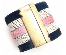 peyton cuff - navy/blush and tan