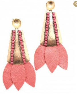 Tinsley Leather Earrings - Pink