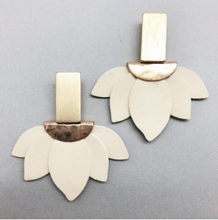 iris leather earrings - ivory and gold