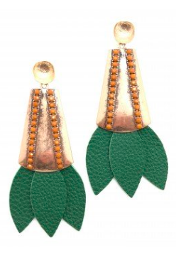 Tinsley Leather Earrings - Green
