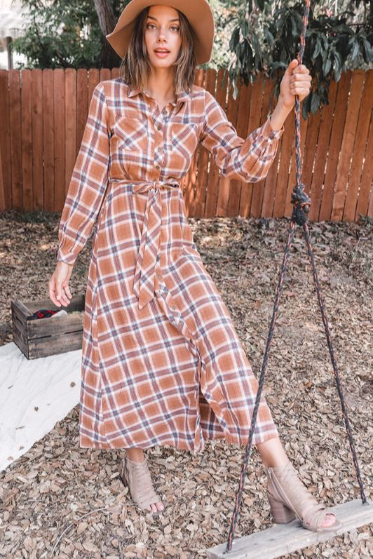 Plaid Belted Maxi Dress