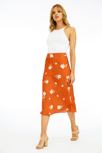 Hawking Satin Midi Skirt
