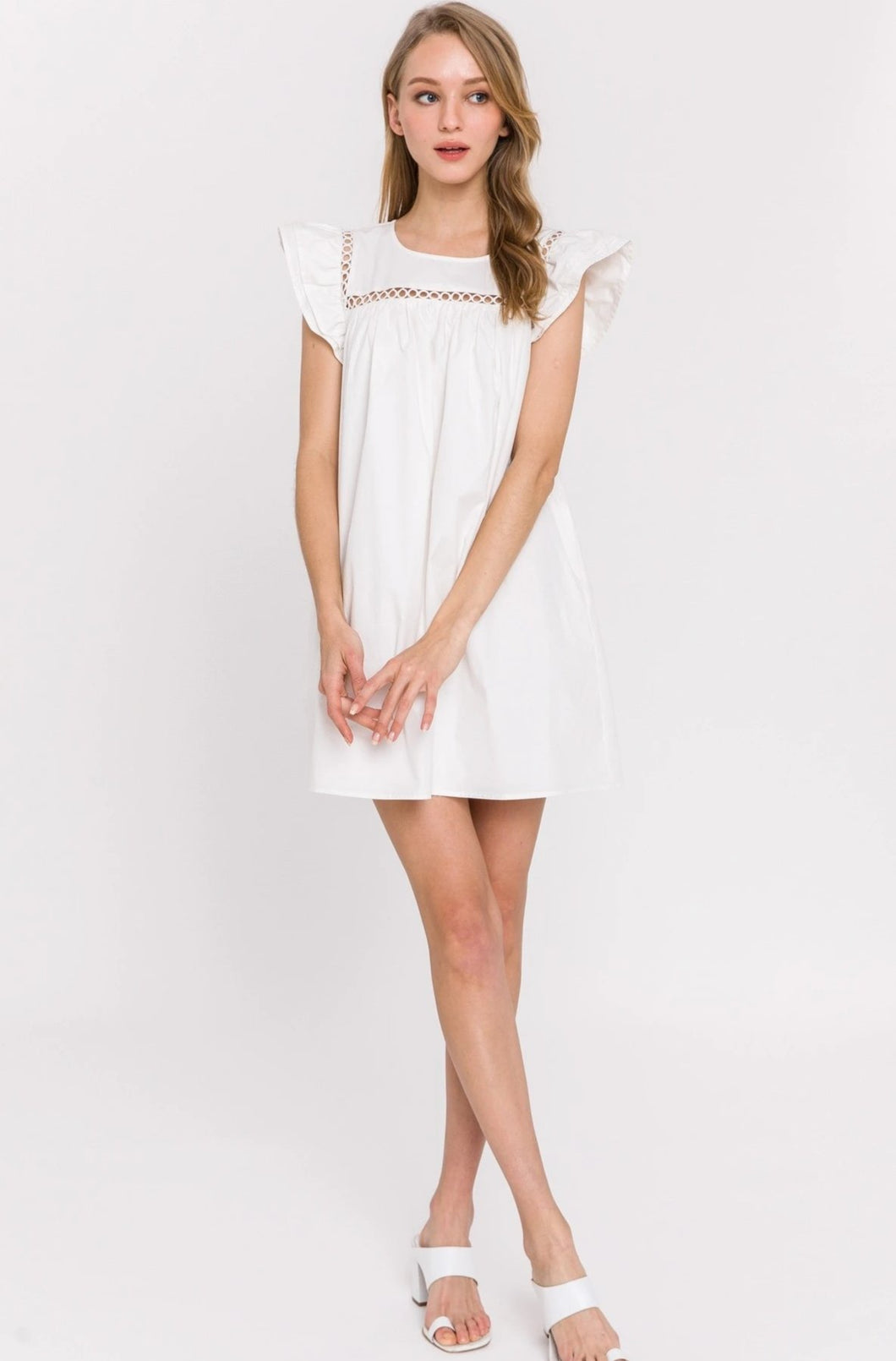 Reese White Flutter Sleeve Dress
