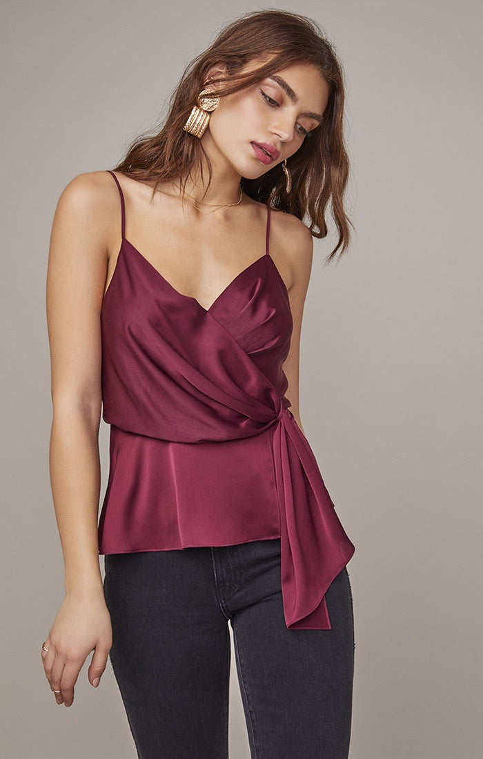 Nile Satin Wrap Top - Wine