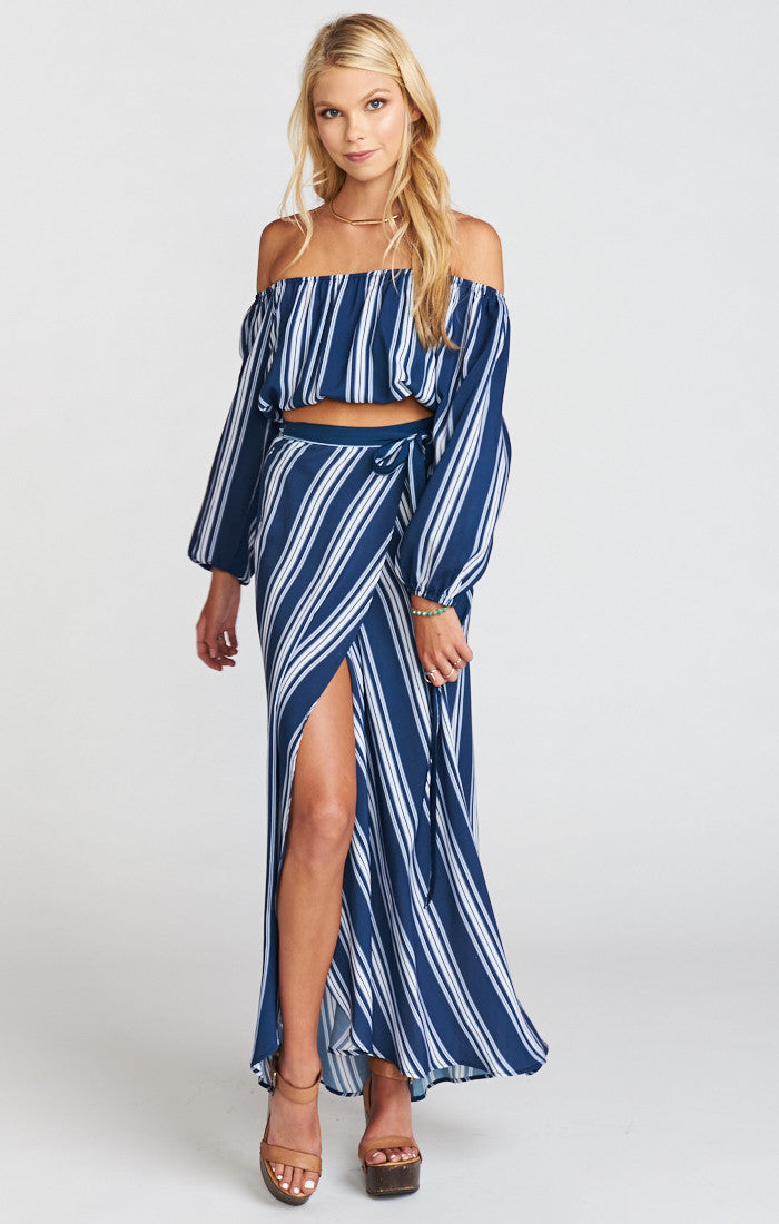 Show Me Your Mumu Siren Wrap Skirt - Navy Stripe Breeze