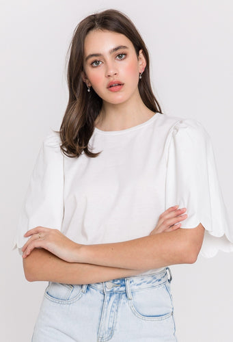 Sovine Scalloped Sleeve Top