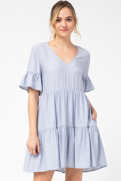 Joanne Blue V-Neck Dress