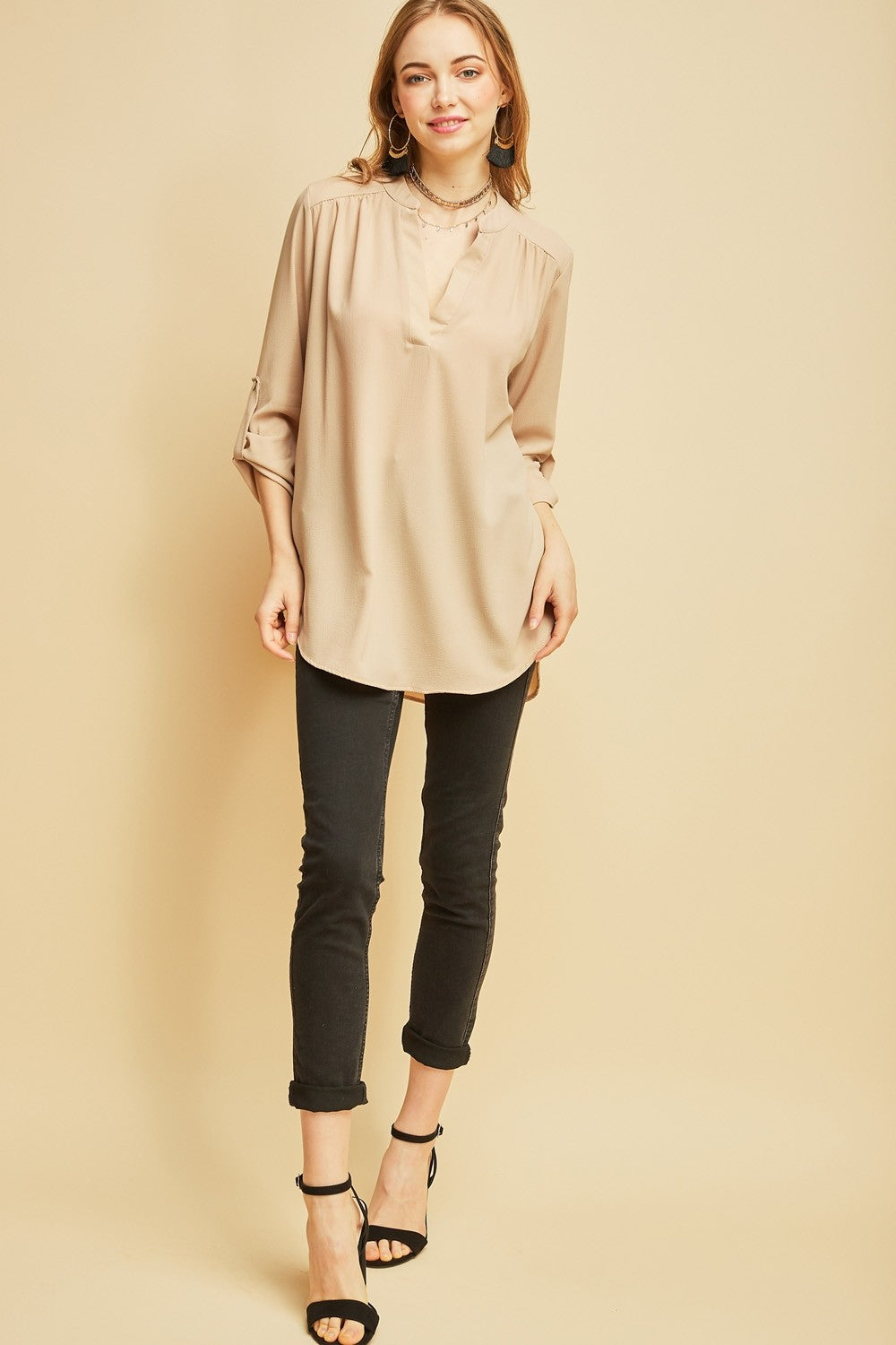 The Madison Top in Taupe