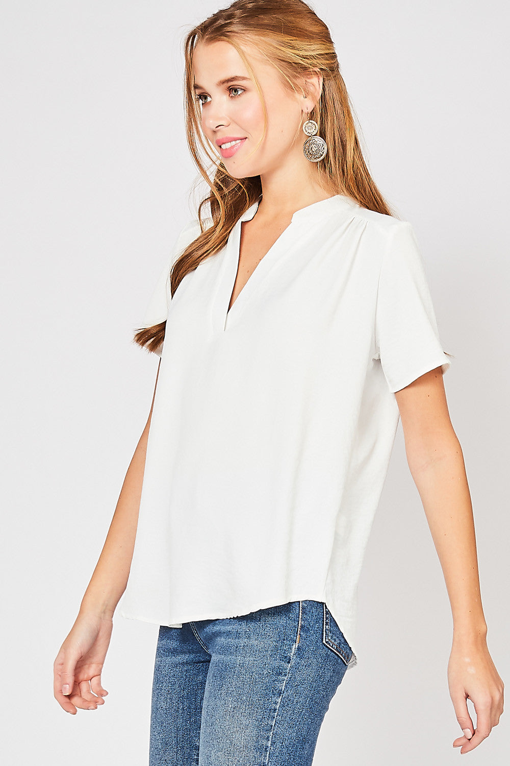 Meredith V-neck Tunic - White