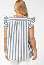 Trina Striped Embroidered Top