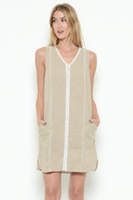 Taupe V-Neck Shift Dress