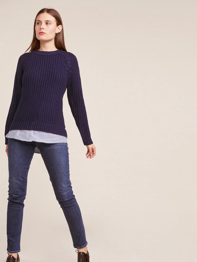 Back At It Shirt Tail Sweater - Navy