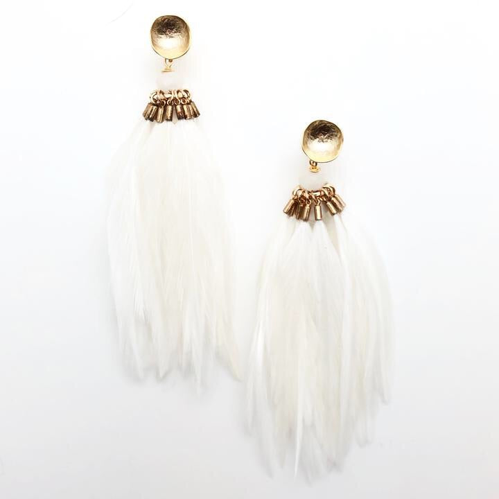 Brinson Feather Earrings - White