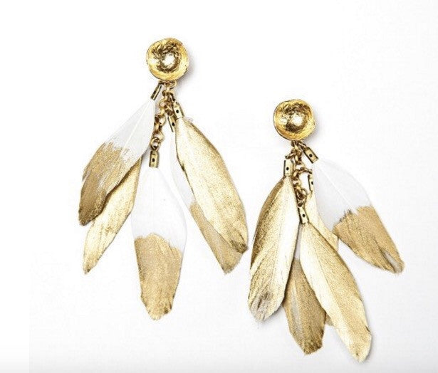 Feather Earrings - Gold/White