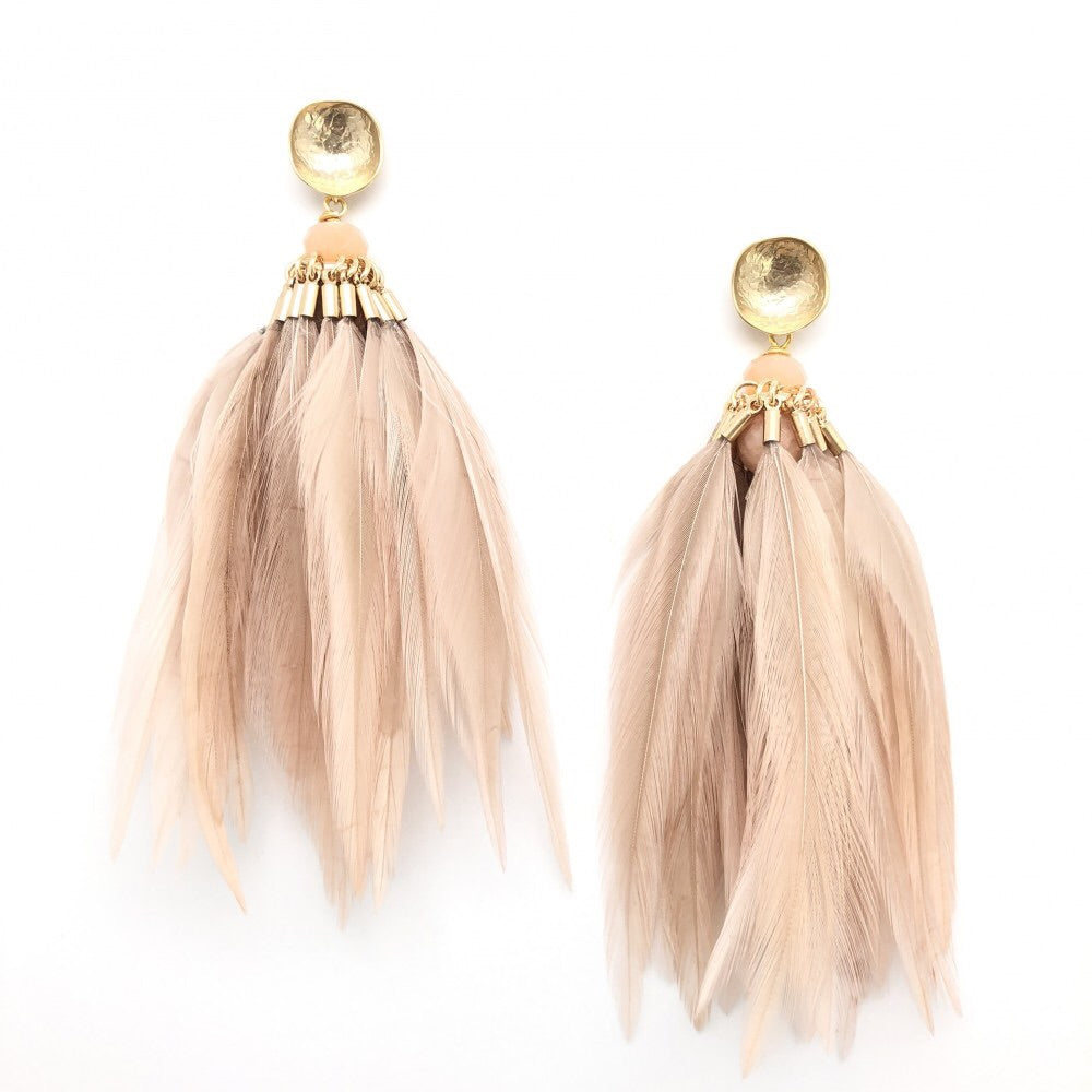 Brinson Feather Earrings - Blush