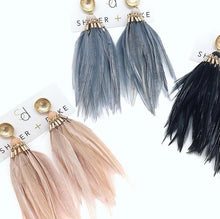 Brinson Feather Earrings - Black