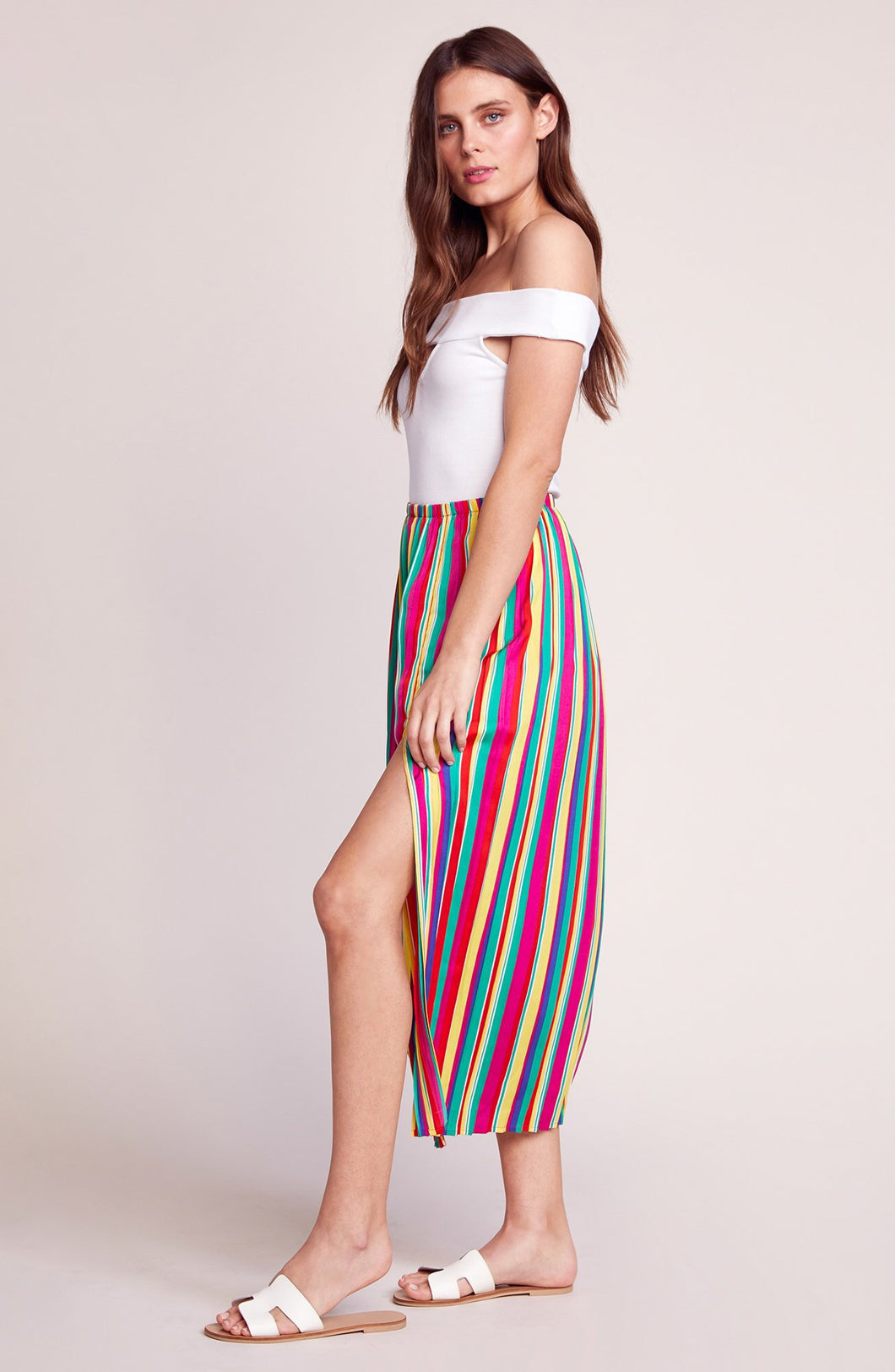 Outside The Lines Pleated Skirt in Rainbow Sorbet