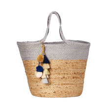 Large Rio Braided Jute Tote Bag (Navy, Grey and Yellow)