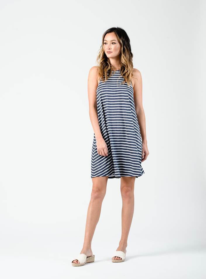 Ellie Racer Back Tank Dress - Navy Stripe