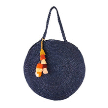 Santorini Round Braided Jute Bag (Navy and Natural)