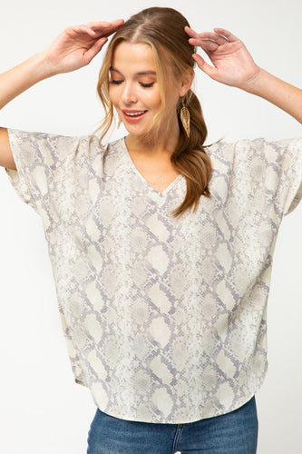 Brooke Snakeskin V-neck Tunic
