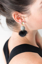 Stingray Mink Pom Pom Earrings - Black/Grey
