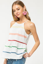 Annie White Striped Peplum Top