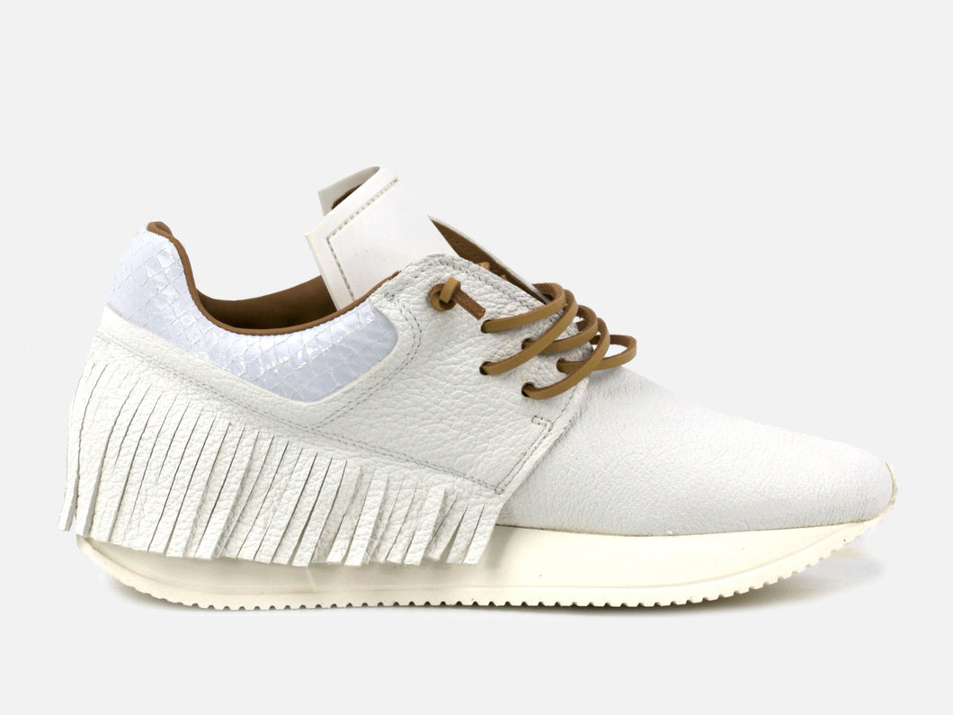 Esseutesse White Leather Fringe Sneaker