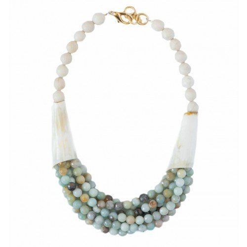 Beaded Horn Necklace - Multi Amazonite