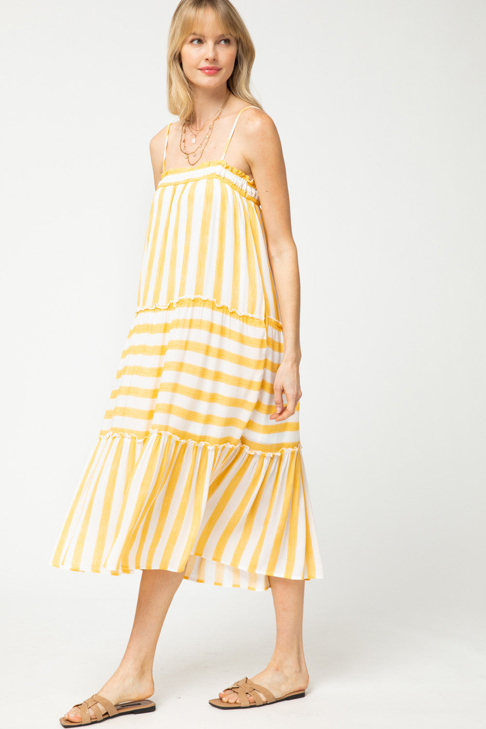 Lindsay Yellow Striped Sleeveless Dress