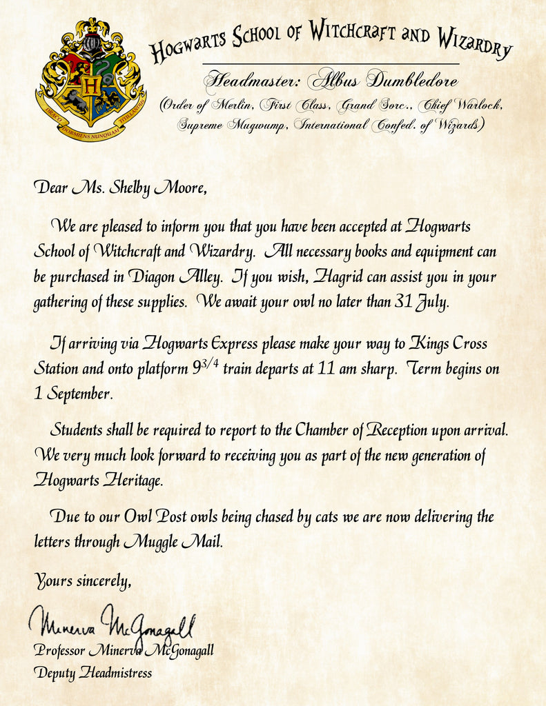 How do you get a Harry Potter Acceptance Letter?