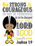 Personalized African American Pittsburgh Steelers Christian Sports Nursery Decor Print - Be Strong and Courageous Joshua 1:9