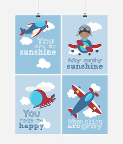 African American Aviation Travel Nursery Art Set of 4 Prints - You Are My Sunshine