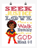 African American Supergirl Christian Superhero Nursery Decor Wall Art Print - Seek Justice Love Mercy - Micah 6:8