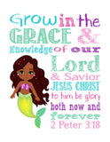 African American Ariel Princess Christian Nursery Decor Print - Grow in Grace and Knowledge